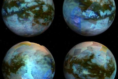 Zdjęcia przedstawiają powierzchnię Tytana w kolorze. Mozaikę uzyskano z obrazów pozyskanych za pomocą instrumentu VIMS sondy Cassini. Różne kolory odpowiadają zróżnicowaniu powierzchni, od ciemniejszych wydm na równiku, do jaśniejszych, wypiętrzonych obszarów. (Kody barw: Czerwień=5 μm, Zieleń=2.0 μm, Niebieski=1.27 μm). Credits: JPL/NASA/Univ. of Arizona/CNRS/LPGNantes