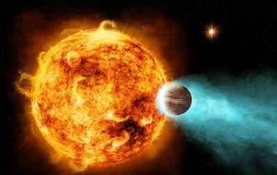 Planeta CoRoT-2b najprawdopodobniej przyspiesza rotację gwiazdy macierzystej, co ma związek z burzą promieni X, która oddziałuje na planetę. Credits: NASA/CXC/M.Weiss