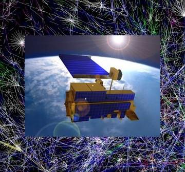 Satelita Terra na tle jednej z wizualizacji Internetu / Credits - NASA, The Opte Project