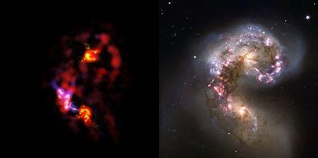 Porównanie zdjęcia wykonanego przez kompleks ALMA w zakresie milimetrowym i submilimetrowym (po lewej) ze zdjęciem wykonanym przez obserwatorium VLT ESO w świetle widzialnym. Zdjęcie z nowego obserwatorium ukazuje chmury gęstego zimnego gazu, z którego powstają nowe gwiazdy / Credits: ALMA – ESO/NAOJ/NRAO, VLT – ESO/Alberto Milani