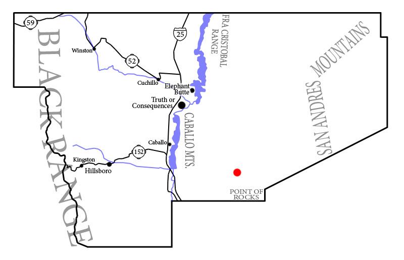 Kosmodrom (czerwony punkt) na mapie stanu Nowy Meksyk / Credits: Paalexan, WikiCommons