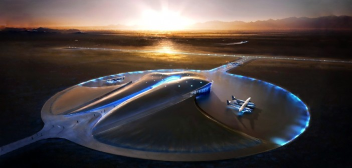 Ukończony budynek terminalu i hangaru Spaceport America, projektu lorda Fostera / Credits: Virgin Galactic