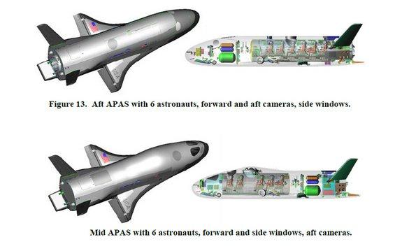 Dwie koncepcje X-37C, różniące się usytuowaniem przedziału załogowego / Credits - AIAA/Grantz/Boeing
