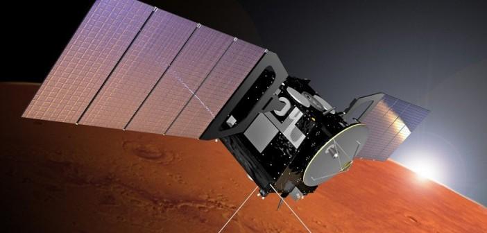Mars Express na orbicie Marsa - wizualizacja / Credits: ESA