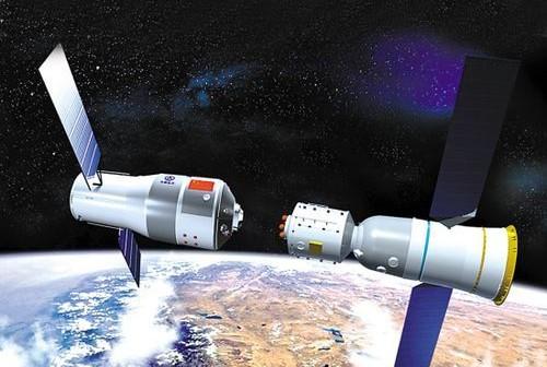 Spotkanie na orbicie: Tiangong 1 (po lewej) i Shenzhou 8 (po prawej) - grafika / Źródło: Xinhua News Agency