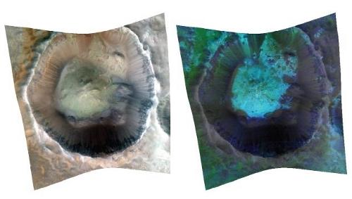 Analiza tysięcy zdjęć pozyskanych za pomocą spektrografu Compact Reconnaissance Imaging Spectrometer for Mars (CRISM) sondy Mars Reconnaissance Orbiter wskazuje na to, że na Marsie występowała woda, najpewniej w źródłach hydrotermalnych. (Credits: NASA/JPL-Caltech/JHUAPL)
