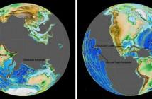 Model Uniwersytetu Princeton pokazuje (po lewej) strukturę powierzchni Ziemi w trakcie powstania krateru Chicxulub. Mógł on wpłynąć na wyniesienie Trapów Dekanu w Indiach, daleko na zachód od punktu przeciwległego. Po prawej punkt przeciwległy Trapów Dekanu znajduje się daleko na wschód od krateru Chicxulub. Model ujawnia jednak, że uderzenie w Chicxulub było zbyt słabe, by wynieść Trapy Dekanu. Na osłabienie fal sejsmicznych wpływ miało ukształtowanie powierzchni uwzględnione w symulacji. (Image credit: Conor Myhrvold)