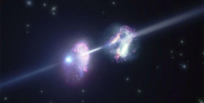 Artystyczna wizja błysku gamma (po lewej) rozświetlającego swoją oraz sąsiednia galaktykę / Credit - ESO/L. Calçada