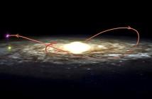 Trajektoria XTE J1118+480 wraz z jej towarzyszem poprzez Drogę Mleczną na przestrzeni ostatnich 230 milionów lat / Credit - I. Rodrigues and I.F. Mirabel, NRAO/AUI/NSF