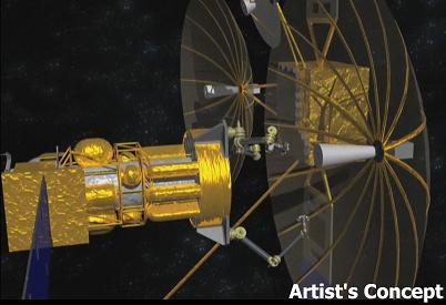 Artystyczna wizja robota (z lewej) i odzyskiwanych anten (z prawej) / Credits: DARPA