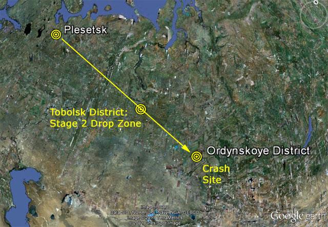 Miejsce startu i upadku rakiety Sojuz-2.1b z satelitą Meridian / Źródło: www.zarya.info