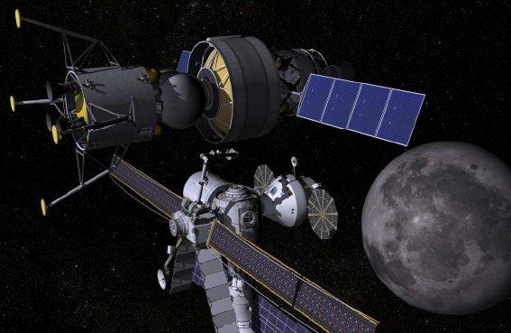 Mały lądownik księżycowy przy platformie eksploracyjnej / Credits - NASA, Boeing