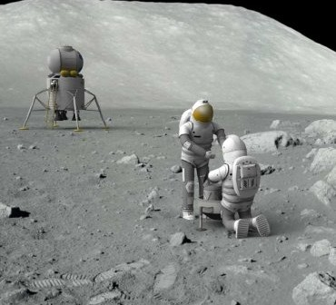 Wizja powrotu na Księżyc w ramach Flexible Path - w tle mały lądownik wielokrotnego użytku / Credits - NASA, Boeing