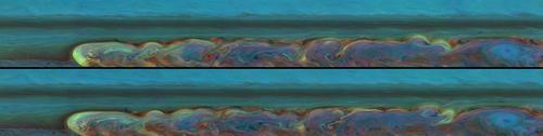 Dwa zdjęcia pozyskane w trakcie jednego dnia (7 sierpień 2011, odstęp 11-godzinny), ukazują zmianę wzoru burzy na Saturnie, co pozwoli naukowcom na określenie prędkości wiejących wiatrów. Specjalne filtry użyte przy tych ujęciach umożliwią dalsze badania burzy. Wzór na północy przemieszcza się na zachód (w lewo) a chmury na południu na wschód (na prawo). (Credits: NASA/JPL-Caltech/Space Science Institute)