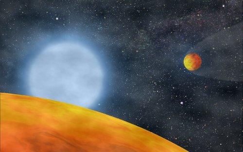 Wizja układu KOI-55 - dwie egzoplanety blisko pozostałości po czerwonym gigancie / Credits - Charpitet et al