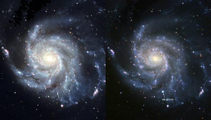 Galaktyka Wiatraczek przed i po eksplozji  /  Credit BJ Fulton (LCOGT), PTF & the S