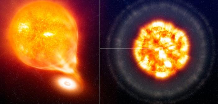 Przed i po eksplozji: biały karzeł ściąga na siebie materię większego towarzysza, w tym wypadku gwiazdy podobnej do Słońca. Kiedy masa karła przekroczy tzw. granicę Chandrasekhara (1,44 mas Słońca), dochodzi do procesów anihilacji i następuje detonacja termojądrowa / Credit – ESO