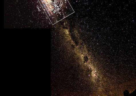 Pole przebadane przez BRAVA. Ten fotomontaż ukazuje południową część Galaktyki tak, jak widzi ją teleskop CTIO / Credit - D. Talent, K. Don, P. Marenfeld, NOAO/AURA/NSF oraz Projekt BRAVA
