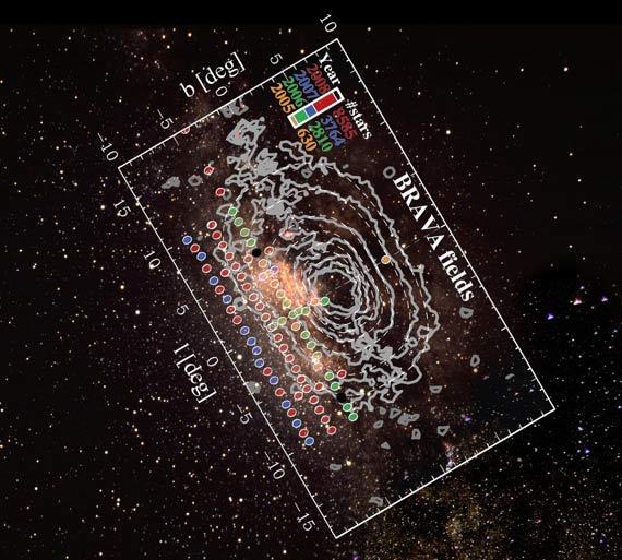 Pole przebadane przez BRAVA. Centrum Drogi Mlecznej ma współrzędne L=0, B=0  /  Credit - D. Talent, K. Don, P. Marenfeld, NOAO/AURA/NSF oraz Projekt BRAVA
