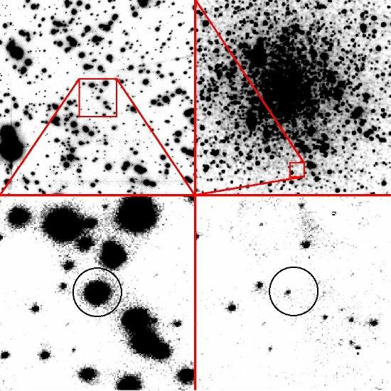 Zdjęcia mikrosoczewki w M 22 wykonane w paśmie Ks. Pole widzenia na zdjęciu w lewym górnym rogu ma bok o długości 20 sekund łuku. Na dole po lewej znajduje się powiększenie 4 x 4 sekundy łuku, a po prawej ten sam fragment, ale po odjęciu z obrazka jasnych gwiazd. Kółkiem oznaczono obiekt pozostały po odjęciu - gwiazdę odpowiedzialną za mikrosoczewkowanie grawitacyjne.