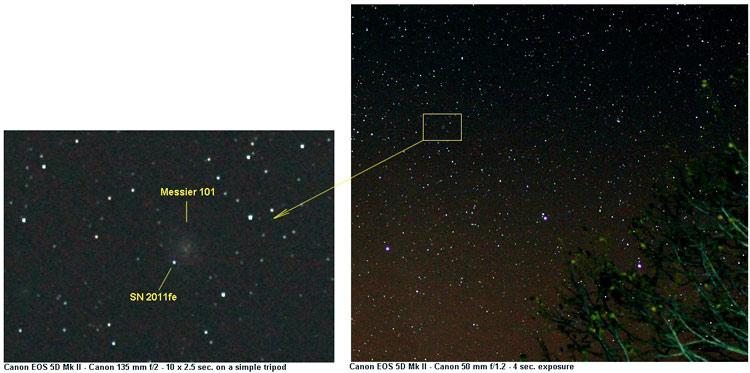 Zdjęcie supernowej oraz jej okolicy wykonane zwykłym aparatem z lustrem  /  Credit – B. Buil