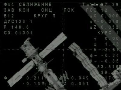 Rosyjska część Stacji ISS widoczna z kamery Sojuza / Credits: NASA