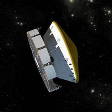 MSL Curiosity w przestrzeni kosmicznej (obecna konfiguracja) - wizja artystyczna (NASA)