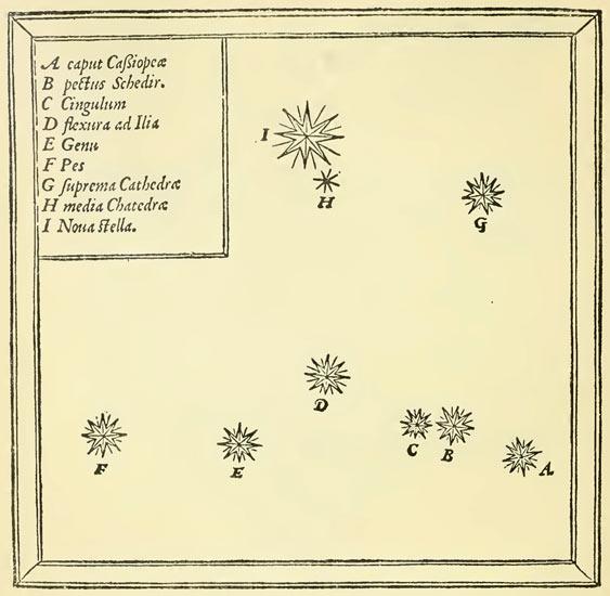 Mapa sprzed pół tysiąclecia stworzona przez Tychona pokazująca, gdzie znajdowała się supernowa w odniesieniu do gwiazd konstelacji Kasjopei  /  Credit - Gerstein Science Information Centre, Univ. of Toronto