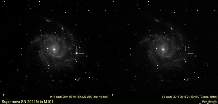 Zdjęcie supernowej SN 2011fe wykonane średniej klasy sprzętem amatorskim / Credit - Petr Michalik, kamera Atik16IC, obiektyw f7.5 SW 80ED na montażu HEQ-5, ekspozycja 40 minut we filtrze I