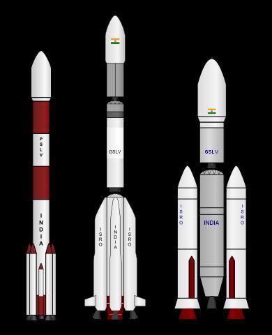Indyjskie rakiety nośne. Od lewej: PSLV, GSLV i GSLV Mk2, GSLV Mk3 / Źródło: GW Simulations
