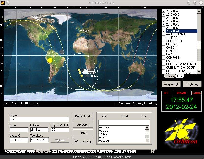 Zrzut programu Orbitron z widocznymi CubeSatami wystrzelonymi przez rakietę Vega / Credits - stoff.pl