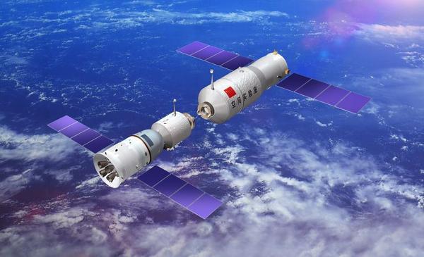 Wizja artystyczna cumowania statku kosmicznego Shenzhou do mini-stacji Tiangong (CNSA)