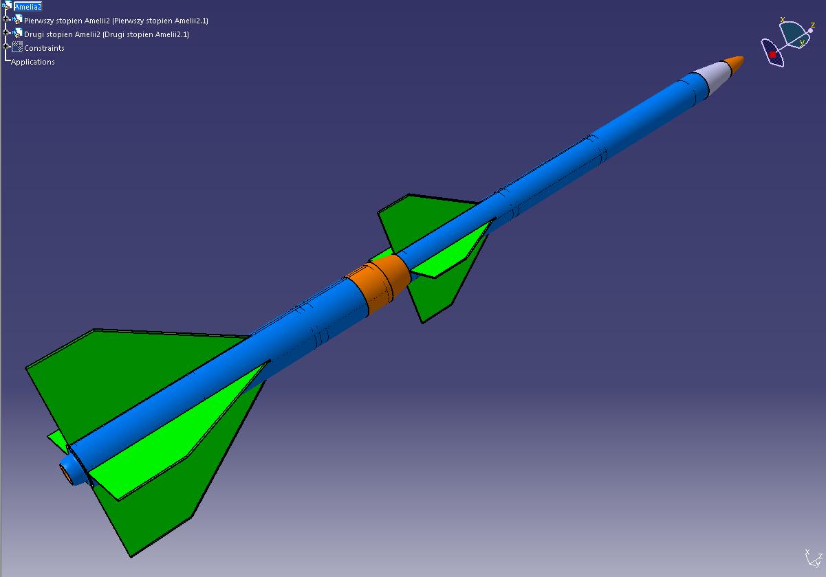 Model 3D rakiety Amelia 2. Dzięki statecznikom wyraźnie widać 1 i 2 stopień rakiety/Credits: SR SKA
