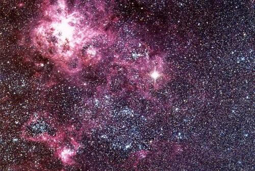 Zdjęcie z 1987 roku. Jasna gwiazda to supernowa SN 1987A / Credits - ESO