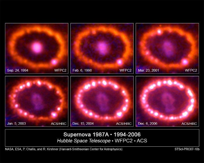 Zmiany w najbliższym otoczeniu pozostałości po SN 1987A / Credits - NASA, ESA, P. Challis and R. Kirshner (Harvard-Smithsonian Center for Astrophysics)