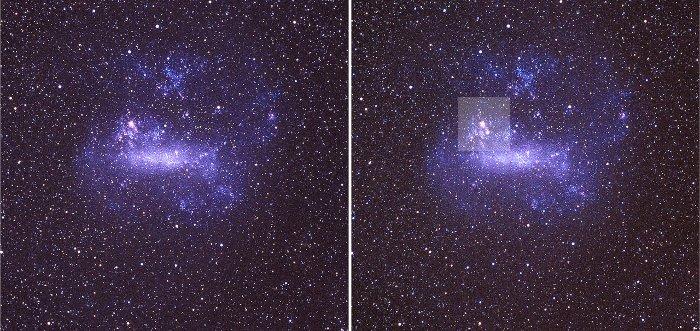 Widok LMC przed (po lewej) i po (po prawej) SN 1987A. SN 1987A znajduje się w jaśniejszym kwadracie, poniżej i na prawo od jasnego obiektu (mgławicy w LMC) / Credits - ESO