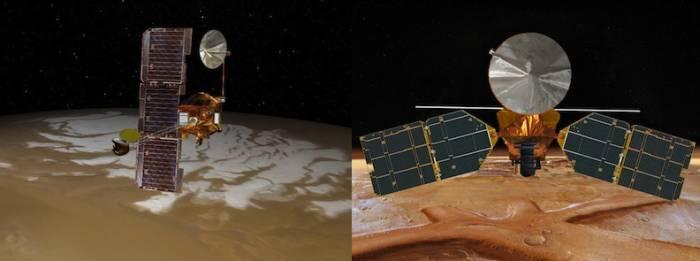 Wizje artystyczne sond Mars Odyssey (po lewej) i MRO (po prawej) / Credits: NASA/JPL-Caltech