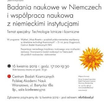 Oficjalny plakat seminarium / Credits: DAAD & CBK PAN