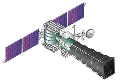 Satelita systemu wczesnego ostrzegania US-KMO (druga generacja). Satelity tej generacji wyposażone są w zwierciadła o średnicy 1 m oraz charakterystyczną, rozwijaną osłonę słoneczną o długości 4,5 m. Prawdopodobnie generacja ta zastąpiła satelity US-KS (pierwsza generacja) na orbitach GEO oraz satelity US-K na orbitach eliptycznych (HEO) / Credits: Novosti Kosmonavtiki
