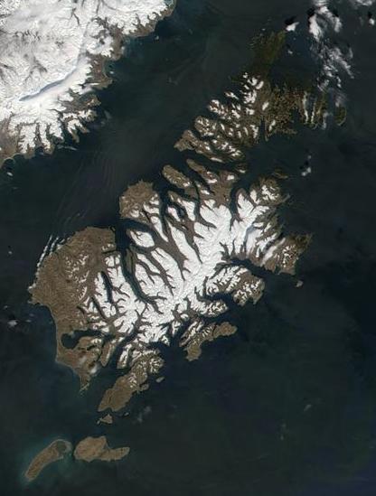 Wyspa Kodiak - zdjęcie satelitarne / Credits: NASA - domena publiczna
