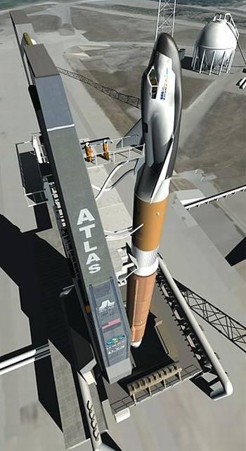 Wizualizacja statku załogowego Dream Chaser na szczycie rakiety Atlas V / Credits: Sierra Nevada Space Systems