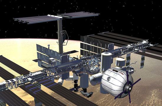 Grafika międzynarodowej stacji kosmicznej z dołączonym modułem Bigelowa BEAM / Źródło: NASA