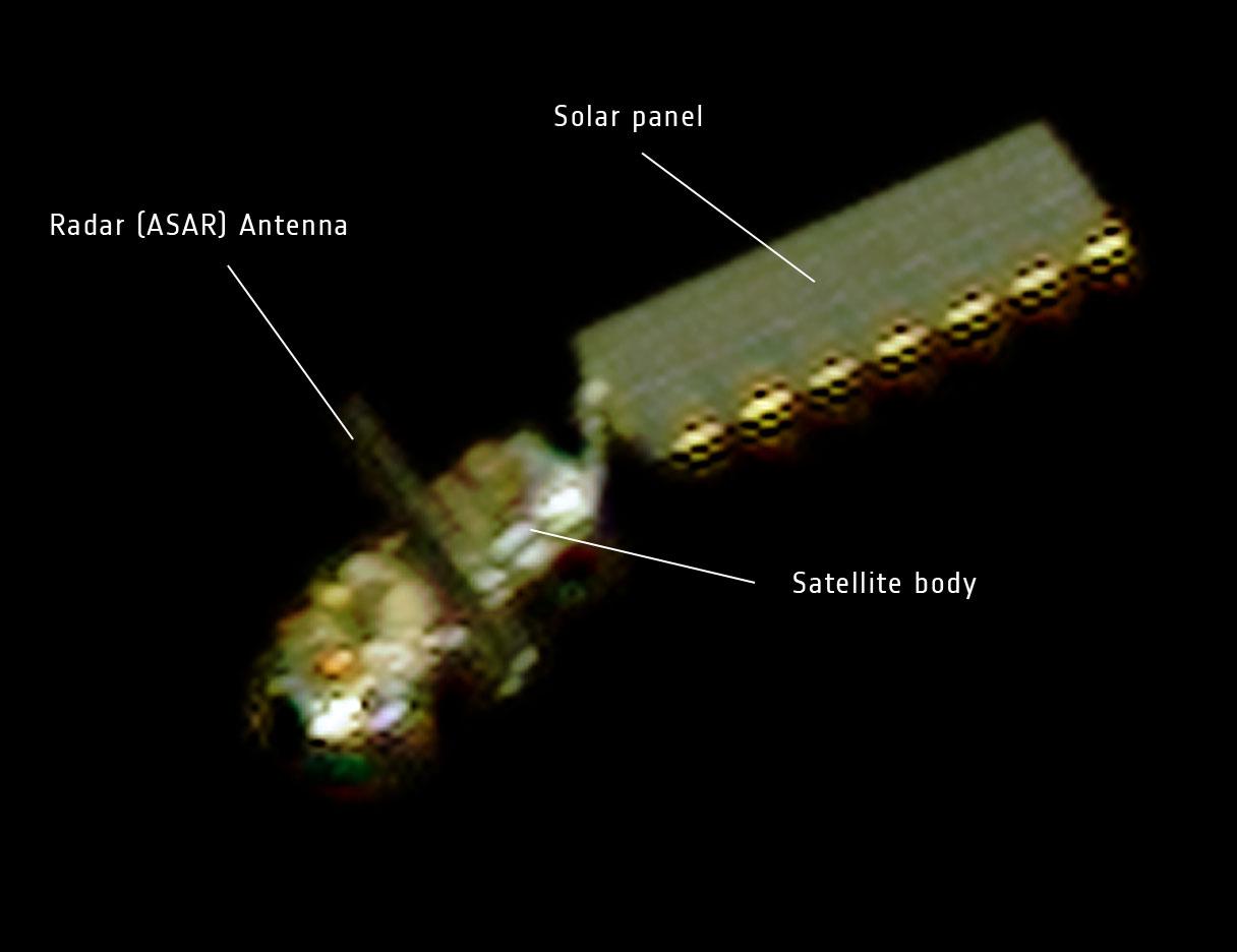 Envisat sfotografowany przez satelię Pleiades, 15 kwietnia 2012 / Credits: CNES