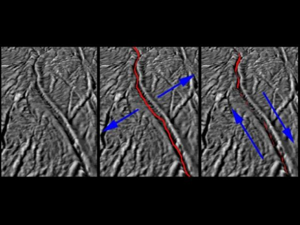 Te obrazy, bazowane na zdjęciach uzyskanych z sondy Cassini, pokazują kierunki działania sił generowanych przez grawitację Saturna, zniekształcających powierzchnię południowych rejonów Enceladusa / Credits: NASA/JPL-Caltech/SSI/LPI/GSFC
