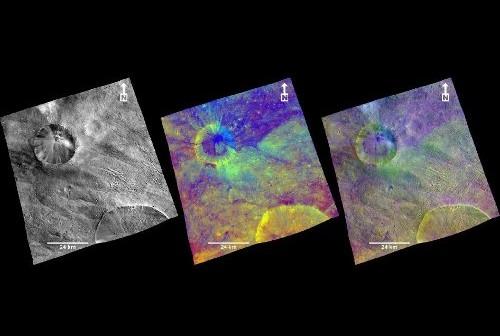 Zdjęcie w fałszywych kolorach, uzyskane dzięki systemom obrazującym sondy Dawn (FC - framing camera). Wyraźnie widać krawędzie i bruzdy ciągnące się od krateru Aquilia, na południowej półkuli Westy. (Zdjęcie: NASA/JPL-Caltech/UCLA/MPS/DLR/IDA)