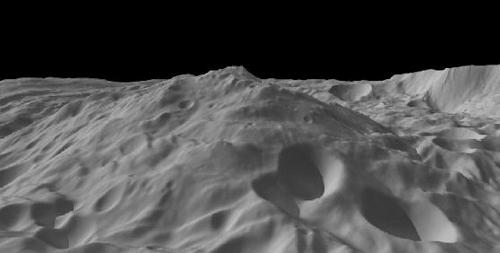 Widok na wielką górę bieguna południowego Westy. Uzyskano go na podstawie obliczeń ukształtowania powierzchni. Jeden piksel odpowiada 300 metrom, skala pionowa jest 1,5 razy większa niż pozioma. (Ilustracja: NASA/JPL-Caltech/UCLA/MPS/DLR/IDA/PSI)