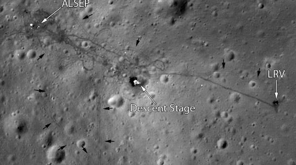 Miejsce lądowania misji Apollo 15 okiem sondy LRO / Credits - NASA/GSFC/Arizona State University