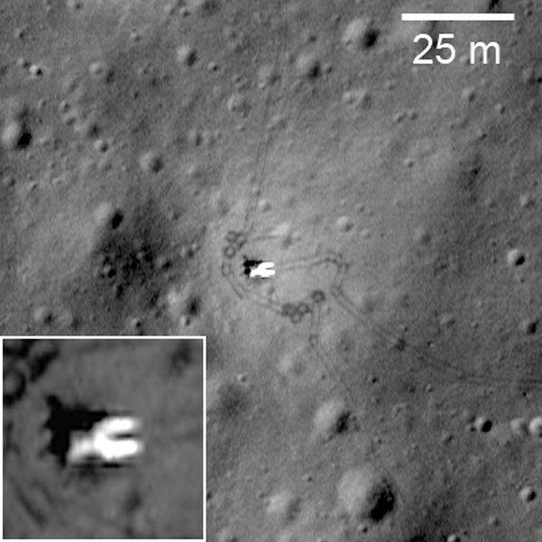 Moduł lądownika Łuna 17 - widoczne są rampy po której zjechał Łunochód 1 na powierzchnię Księżyca / Credits - NASA/GSFC/Arizona State University