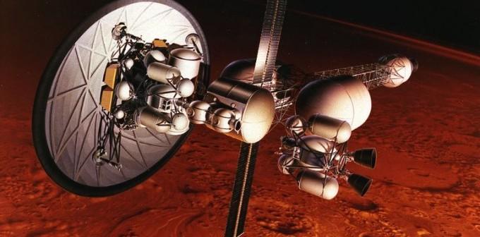 Wizja artystyczna misji marsjańskiej z napędem jądrowym NERVA / Credits: NASA