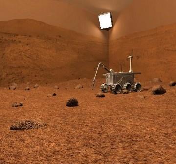 Wizualizacja łazika M4K na symulowanej powierzchni Marsa w projekcie ReMY / Credits - MSP